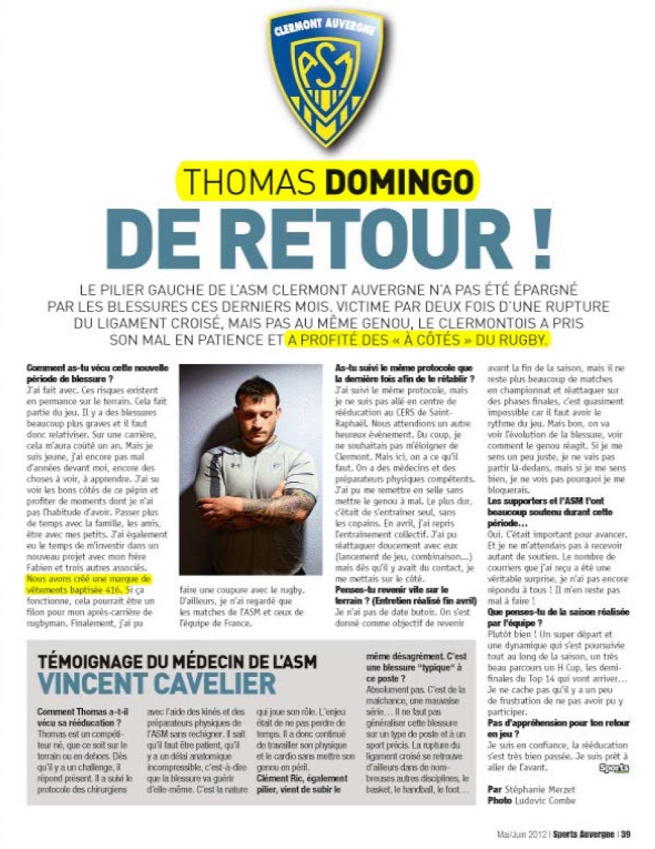 Sports Auvergne - Thomas Domingo dans le Hors-Série Sports Auvergne de Mai/Juin 2012