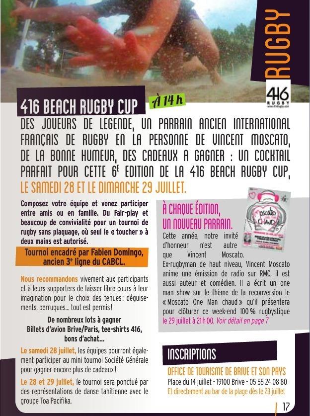 Le programme de Brive Plage Festival et de la 416 Beach Rugby Cup
