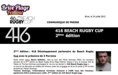 Communiqué - 2ème édition : 416 Développement partenaire du Beach Rugby Cup avec la présence de 2 Parrains