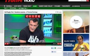 Vidéo - Thomas Domingo habillé en 416 Wear modèle Explode au Cali Rugby Club sur l'Equipe TV le 30 janvier 2012